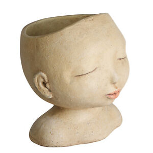 """Head of a Lady Indoor/Outdoor Resin Planter - Plants Look Like Hair, 9"""" Tall"""