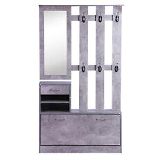 Mobile guardaroba per ingresso con specchio appendiabiti e scarpiera grigio
