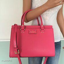 NEW! KATE SPADE Pink Wellesley Leather Durham Satchel Tote Shoulder Bag Purse