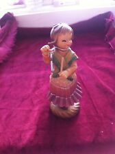 "Anri Italy Girl Playing Musical Triangle 6"" Tall Signed Authentic Price Cut"