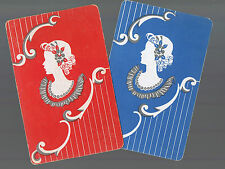 Playing Swap Cards 2  VINT     DECO  LADIES  SILHOUETTES  PAIR #256