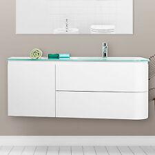 Mobile sospeso arredo bagno moderno 120 cm lavabo in cristallo temperato novità