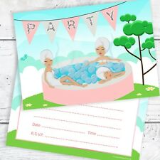 Girls Hot Tub Party Invitations - Ready to Write with Envelopes (Pack 10)
