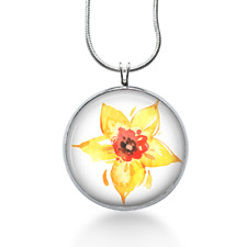 Yellow Daffodil necklace gifts for her, colorful flower jewelry