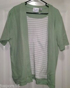 Palm Harbour Womens Green White Striped Layer LOOK Shirt Top Blouse Size 1X