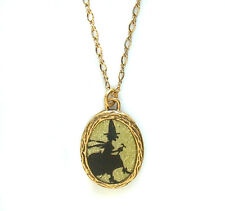 Maximal Art Halloween Necklace John Wind Witch Silhouette Gold Jewelry