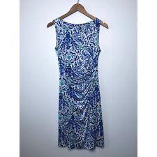 TORY BURCH Silk Akira Print Sleeveless Sheath Dress Ruched Floral Blue size XS