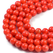 "Semi-Precious Orange Coral 8mm Round Gemstone Jewellery Making Beads 16"" Strand"