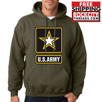 ARMY LOGO MILITARY GREEN HOODIE United States Usarmy Ranger US Hooded Sweatshirt