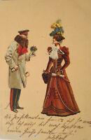 """Künstlerkarte, Frauen, Mode"" 1899, Edgar Schmidt, Dresden-Budapest ♥ (17757)"