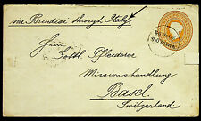 INDIA 1893 MANGALORE QV ENVELOPE VIA BRINDISI ITALY SEA PO TO BASEL-N45876