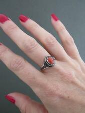 Vintage Chinese Silver Salmon Coral Ring