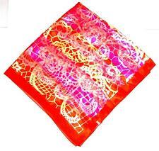SCARF Large Square Bright Orange & Yellow & Pink VIVID ABSTRACT DESIGN