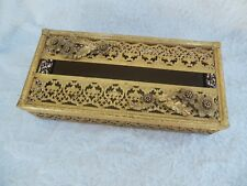 Vintage Gilded Brass Filigree Long Tissue Box Cover Daffodils 10.5""