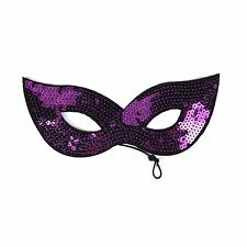 Adults / Kids Halloween Masquerade Carnival Party Sequin Cat Eye Mask - Purple