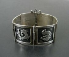 Vintage Animal Symbols Mexico Sterling 925 Silver Link Small Size Bracelet