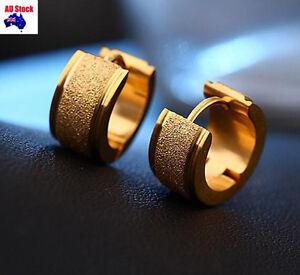 2PC 12MM Fashion Dull Polish Mens Dads Ear Studs Hoop Earrings Black Gold Silver