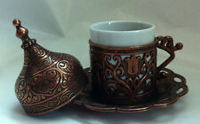 Turkish Coffee Mug Tulip Motif Porcelain Cup Lid Plate Gold Silver Copper