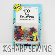 "COLLINS FLAT FLOWER PINS 2"" - ASSORTED COLORS 100 EACH # C155 155"