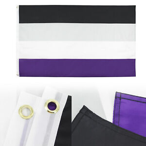 Asexuality Flag 3x5 ft Asexual Pride Banner Sign LGBT Black Gray Purple Stripe