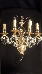Antique french Louis XV style bronze and glass sconce AA  1465
