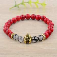 Men's Charm Helmet Red Turquoise Healing Energy Stretch Bangle Bracelets Jewelry