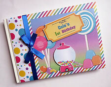 PERSONALISED WILLY WONKA/SWEET/CANDY SHOP BIRTHDAY GUEST BOOK - ANY DESIGN