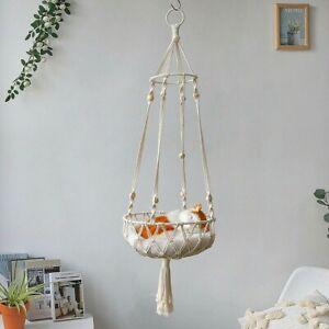 Macrame Cat Hammock Boho Style Kitty Hanging Swing Bed Pet Sleeping Bed Cat Home