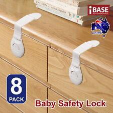 8x Child Adhesive Kid Baby Safety Drawer Door Lock Cupboard Cabinet Belt White