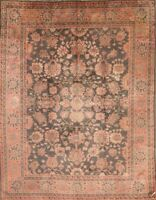 Vegetable Dye Antique Fossil Blak/Pink Oushak Turkish Oriental 9'x11' Area Rug