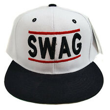 SWAG Embroidered White/Black Snapback Hat Cap