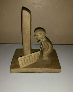 "Vtg Hager Martie Strubel Sculpture Wood Bookend ""Mischievous Child "" 1970's"