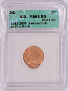 ICG 1c Lincoln Cent Saddle Strike MS63 Red