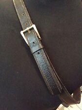 "vintage black  thick hide leather 1"" wide pants belt ~ L  36"" - 38""waist"