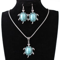1Set Turquoise Jewelry Vintage Silver Tortoise Necklace Earrings Jewelry Set PLZ