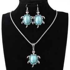 1Set Turquoise Jewelry Vintage Silver Tortoise Necklace Earrings Jewelry Set Pgg