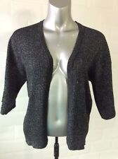 SIZE 10 BLACK SILVER LUREX FINE RIB KNIT EVENING CARDI PARTY CHRISTMAS NEW YEAR