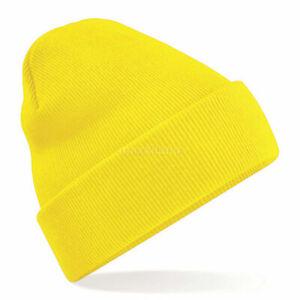 Beanie Plain Cuffed Cuff Solid Knit Winter Cap Hat Ski Men Woman