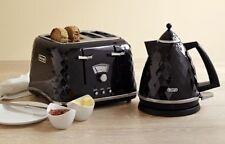 DeLonghi Brillante High Gloss Black 1.7l Kettle & 4 Slice Toaster Set