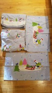 Children's Flannel Sheets Full Size Cute Winter Penguin Pattern Full Set
