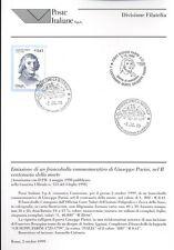 ITALIA 1999 GIUSEPPE PARINI  BOLLETTINO COMPLETO DI FRANCOBOLLI FDC