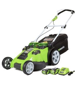 Greenworks 40V Cordless Mower Twin Force 4Ah & 2Ah Batteries + Charger 70 minute