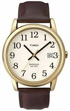 Timex T2N369, Men's Easy Reader, Brown Leather Watch, Indiglo, Date T2N3699J