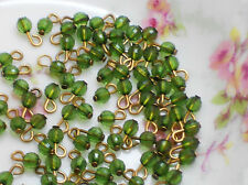 #511 Vintage Glass Beads Drops Dangles Doll buttons 8 Tiny Mini 4mm NOS Charms