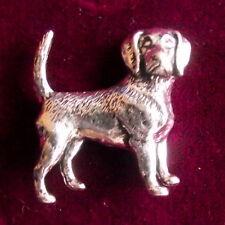 Fox Hunting Pewter Beagle Hound Dog Brooch Pin