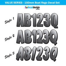 Boat Rego Decal Set 150mm Registration Stickers VIC NSW SA TAS WA GREY (Value)