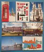 Set of 7 London Postcards England City View Street Travel Landscape Postcards