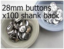 28mm self cover metal BUTTONS SHANK backs (sz 45) 100 QTY + FREE instructions