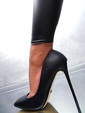 Neu SCHWARZ HOHE Stiletto Pumps Elegant Classic Damen Sexy W63 Schuhe High Heels