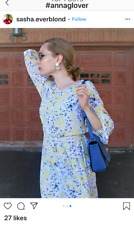 H&M ANNA GLOVER YELLOW FLORAL BUTTERFLY MIDI DRESS SIZE US 8 UK 14 BLOGGERS